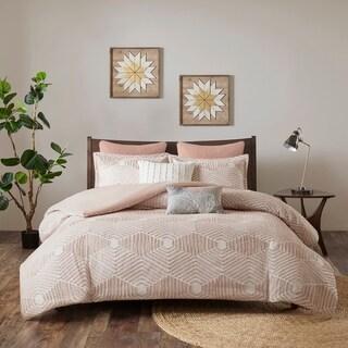 INK+IVY Ellipse Blush Cotton Jacquard King/ Cal-King Size Comforter Set (As Is Item)