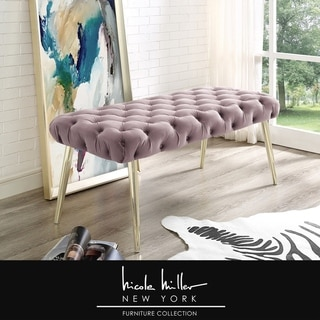 Link to Nicole Miller Marshall Velvet Bench, Button Tufted/ Metal Tapered Legs Similar Items in Living Room Furniture