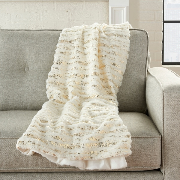 Mina Victory Foil Stripes Plush Throw Blanket. Opens flyout.