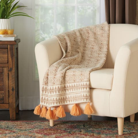The Curated Nomad Alexandria Bohemian Loop Shag Throw Blanket