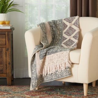 Mina Victory Stonewash Loop Shag Throw Blanket