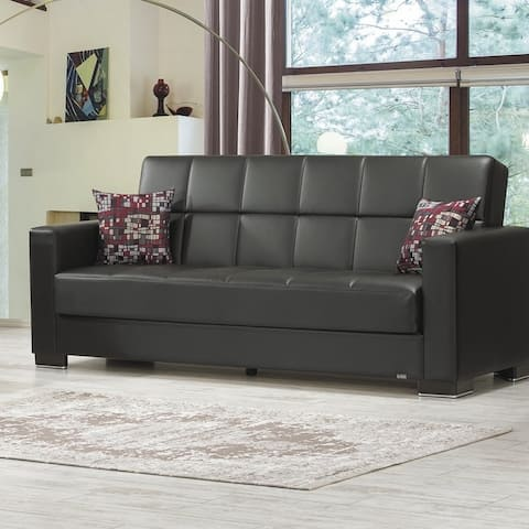 Armada Leatherette Upholstery Sofa Sleeper Bed with Storage - 88 W x 38 H x 37 D