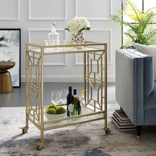 Link to Johnson Serving Bar Cart 2 Tempered-Glass Shelves, Casters/ 2 Locking  Similar Items in Home Bars
