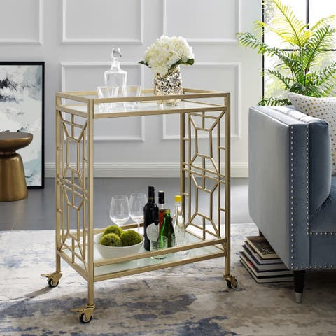 Johnson Serving Bar Cart 2 Tempered-Glass Shelves, Casters/ 2 Locking - N/A