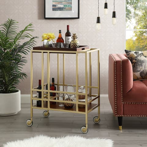 Ronald Serving Bar Cart, Removable Tray/ Wine Bottle Storage/ Casters - N/A