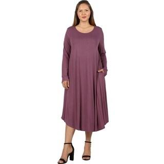 JED Women's Plus Size Long Sleeve Midi Dress with Side Pockets