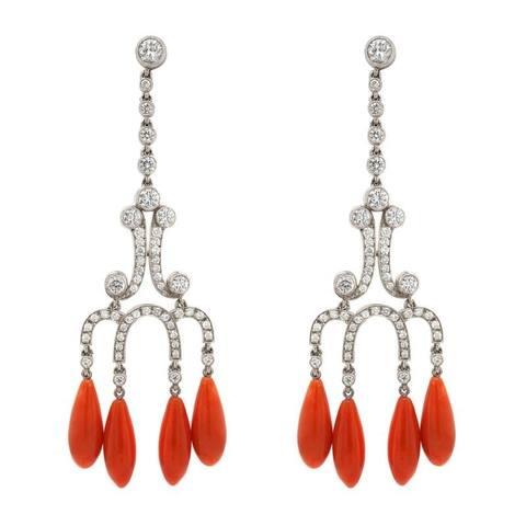 Platinum Diamond and Coral Vintage Earrings (G-H,VS1-VS2)
