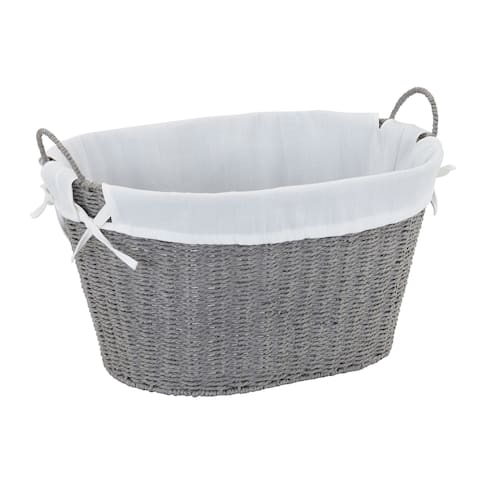 Household Essentials Paper Rope Laundry Basket, Grey 11H x 19W x 14D