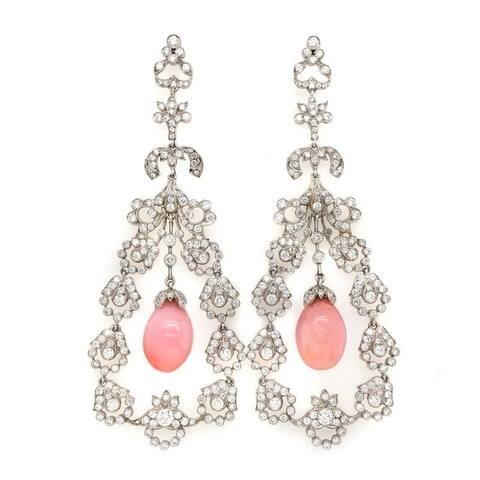 Platinum Conch Pearl 11.57 Carat Diamond Earrings (F-G, VS1-VS2)