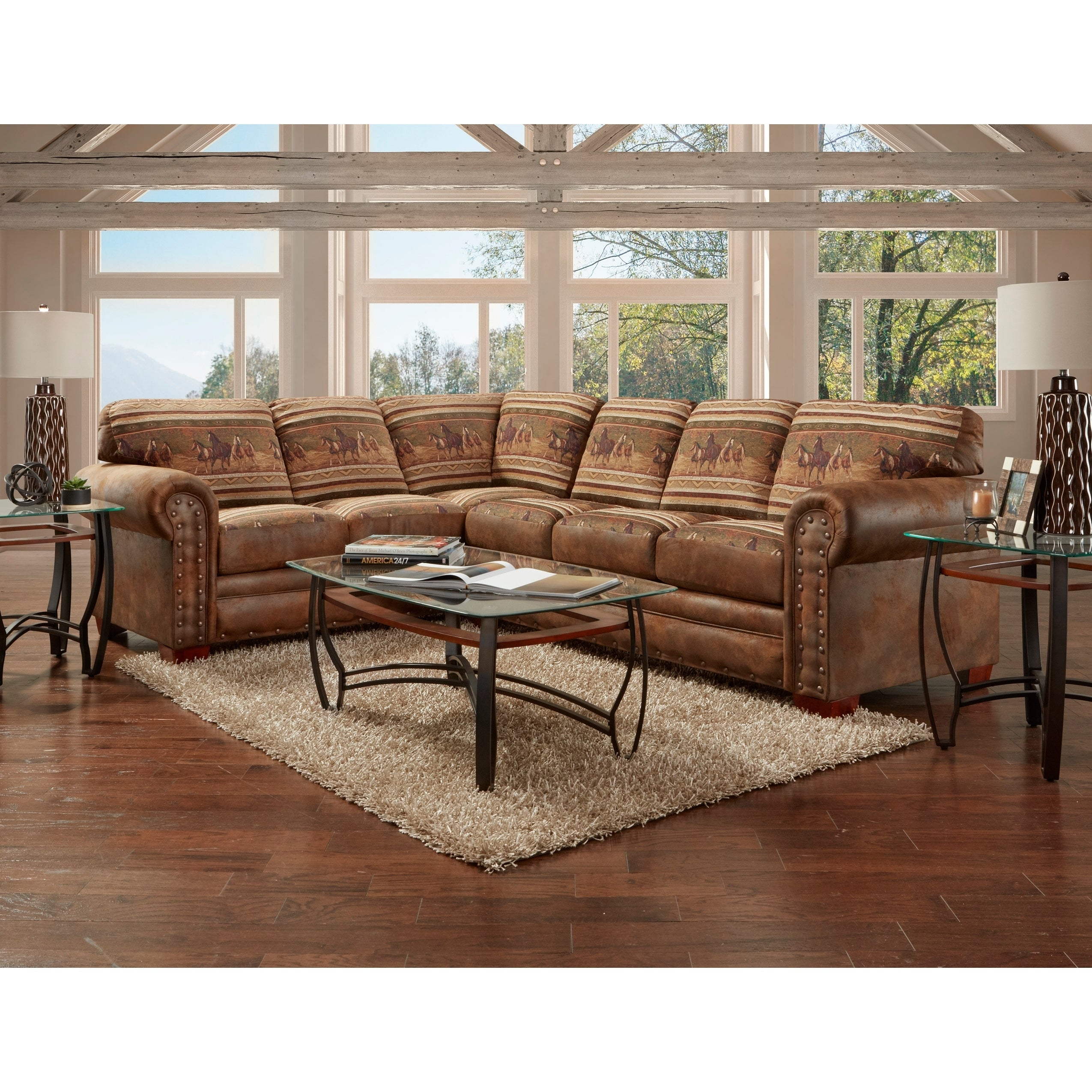 American Furniture Classics Model 8506 40k Wild Horses Two Piece Sectional Sofa 8 X 10