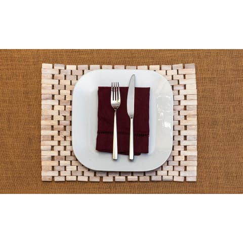 Exotic Wood Roosevelt Placemat, White (Set of 2)