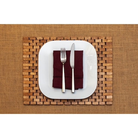 Exotic Wood Roosevelt Placemat, Handmade, Brown (Set of 2)