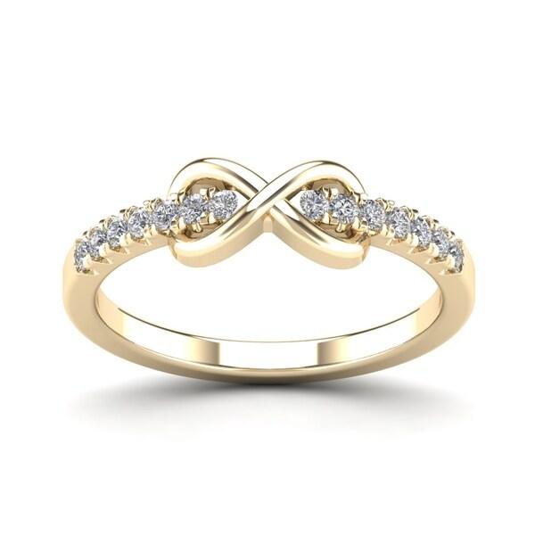AALILLY 10k Yellow Gold 1/4ct TDW Diamond Infinity Shape Fashion Ring (H-I, I1-I2)