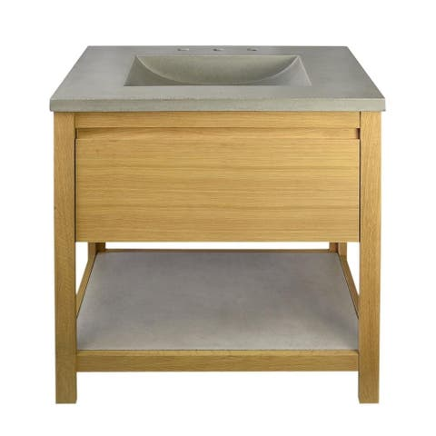 "30"" Solace Vanity Base in Sunrise Oak with Palomar Vanity Top and Sink"
