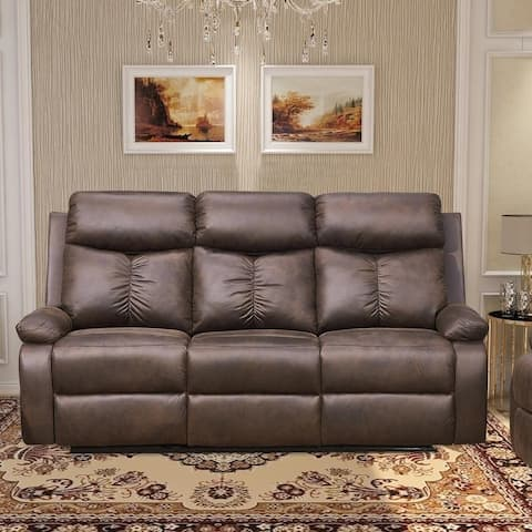 Vanity Art Brown Microfiber 3-Seat Recliner Loveseat Manual Reclining Couch for Small Living Room Dining Room Sofa Set