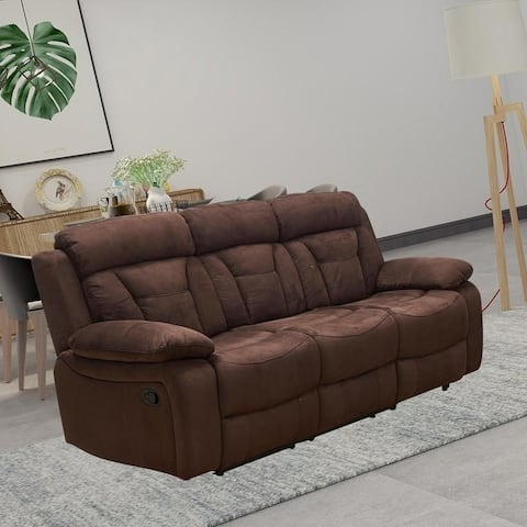 Vanity Art Microfiber 3-Seat Recliner Loveseat Manual Reclining Couch for Small Living Room Dining Room Sofa Set, Brown