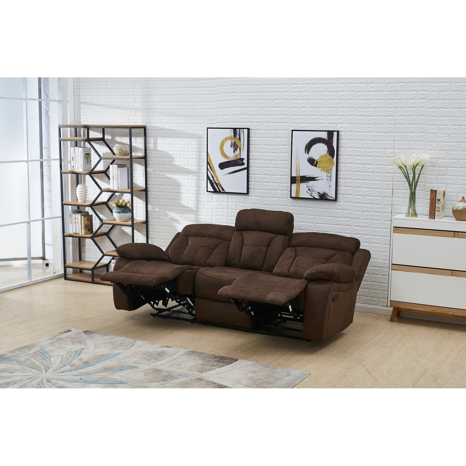 Vanity Art Microfiber 3 Seat Recliner Loveseat Manual Reclining Couch For Small Living Room Dining Room Sofa Set Brown Overstock 27753904