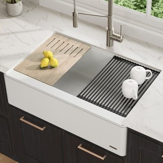 KRAUS Bellucci 33-in CeramTek Granite Composite Farmhouse Kitchen Sink