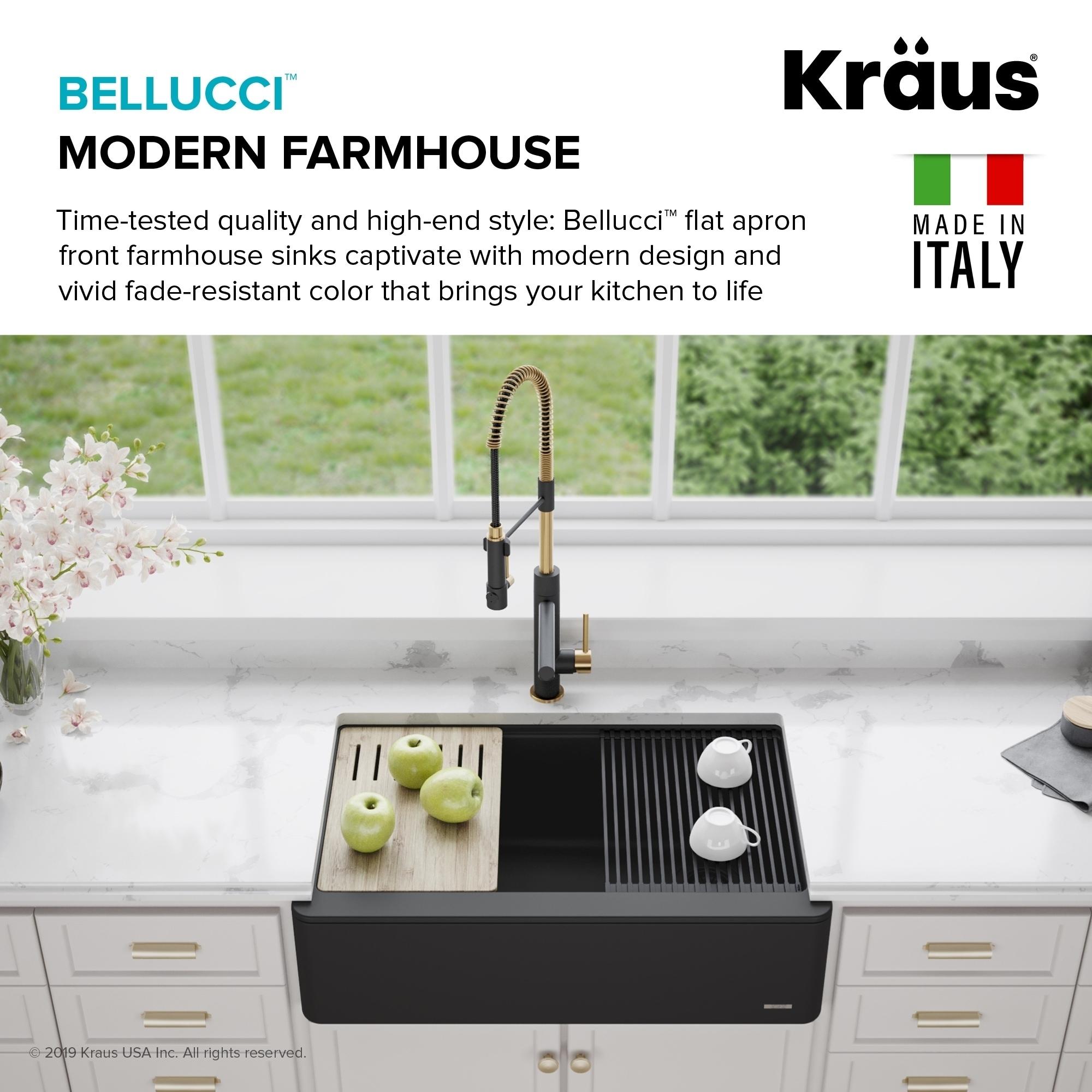 KRAUS Bellucci 30-in CeramTek Granite Composite Farmhouse Kitchen Sink