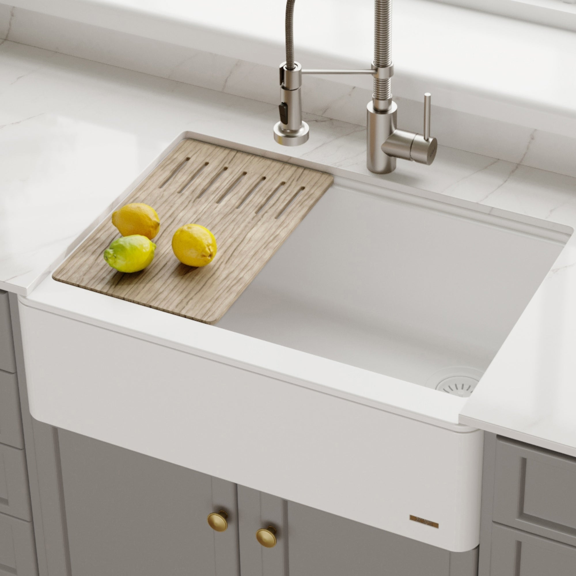 KRAUS Bellucci 30-in CeramTek Granite Composite Farmhouse Kitchen Sink