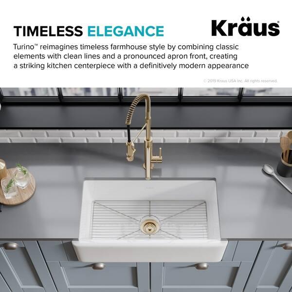 Shop Kraus Turino Revers 33 inch Fireclay Farmhouse Flat ...
