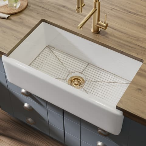 KRAUS Turino Reversible 33-inch Fireclay Farmhouse Flat Apron Front Single Bowl Kitchen Sink