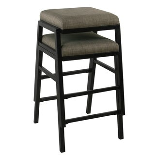 Porch & Den Emeraldview Grey Woven Stacking Counter Stools (Set of 2)