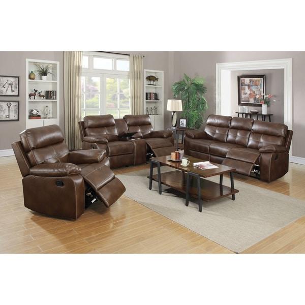 Drummond 3 Piece Living Room Set In: Shop Benton Brown 3-piece Faux Leather Living Room Set