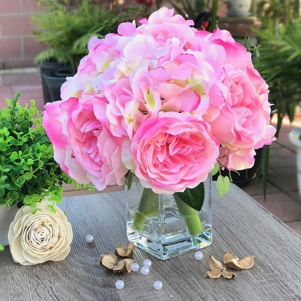 Enova Home Pink Peony and Hydrangea Mixed Faux Flower Arrangement With Clear Glass Vase. Opens flyout.