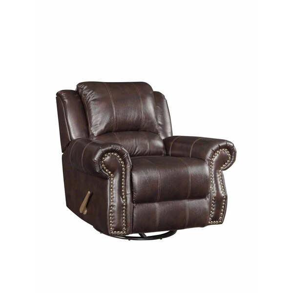 Lucia Dark Brown Leather Traditional Glider Recliner