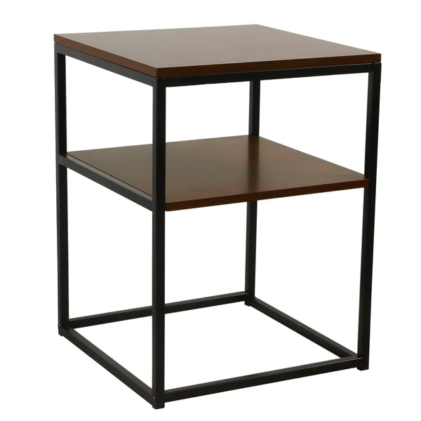 HomePop Wood and Metal Accent Table with Shelf Storage