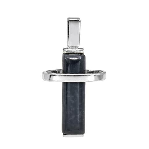 Handmade Modern Inspired Sterling Silver Cross Grey Agate Stone Inlay Pendant (Thailand)
