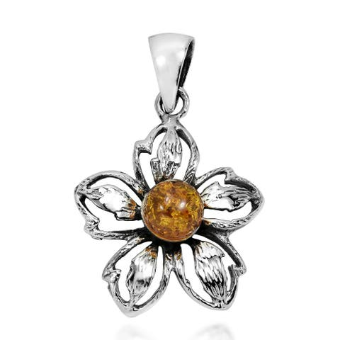 Handmade Azalea in Bloom Amber Sterling Silver Floral Pendant (Thailand)