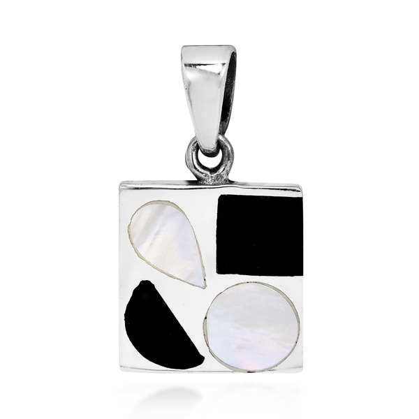 Handmade Retro Chic Black Onyx and White Mother of Pearl Sterling Silver Square Pendant (Thailand). Opens flyout.