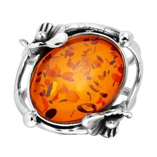 Link to Handmade Stylish Oval Amber Amethyst Stone Nestled in Floral Sterling Silver Ring (Thailand) Similar Items in Rings