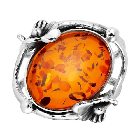 Handmade Stylish Oval Amber Amethyst Stone Nestled in Floral Sterling Silver Ring (Thailand)