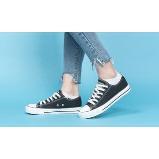 Women's Canvas Shoes Casual Sneakers Low Cut Lace Up Fashion Walking Flats