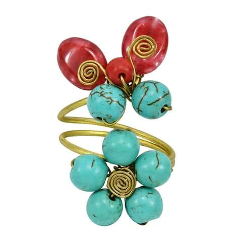 Handmade Sweet Butterfly Garden Mix Stones Brass Swirls Floral Statement Ring (Thailand)