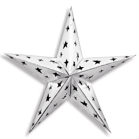 """Beistle 24"""" General Occasion Party Novelty Dimensional Foil Star, Silver - 12 Pack (1/Pkg)"""