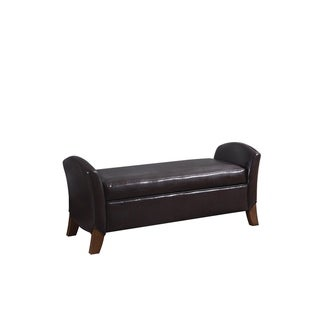 Dearborn Upholstered Brown Faux Leather Bench