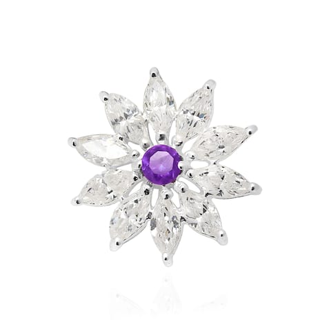 Handmade Radiant Energy Sunflower White and Purple Cubic Zirconia Sterling Silver Pendant (Thailand)