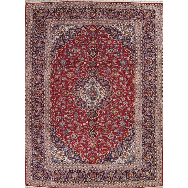 """Kashan Floral Medallion Traditional Hand-Knotted Wool Persian Area Rug - 13'6"""" x 9'8"""""""