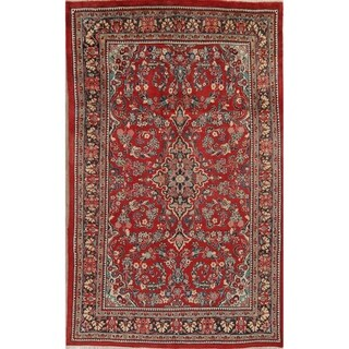 """Sarouk Floral Hand-Knotted Wool Persian Oriental Area Rug - 10'2"""" x 6'7"""""""