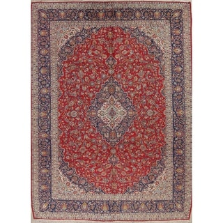 """Kashan Floral Medallion Traditional Hand-Knotted Wool Persian Area Rug - 13'4"""" x 9'10"""""""
