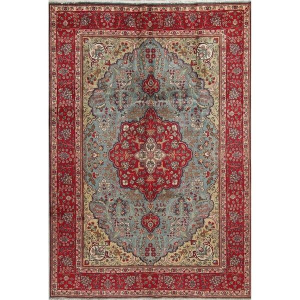 Shop Classical Kashan Medallion Hand Knotted Persian Wool: Shop Tabriz Floral Medallion Traditional Hand-Knotted Wool