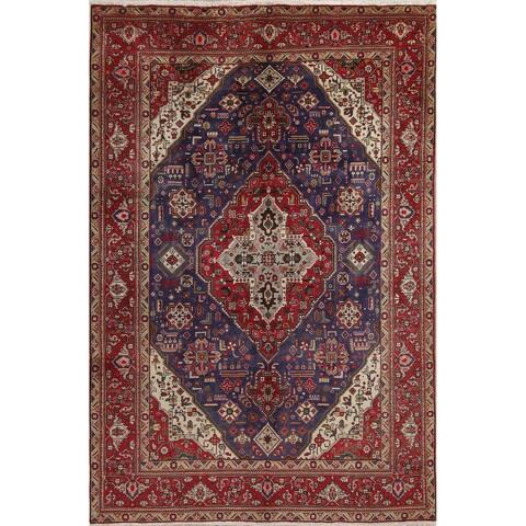 "Tabriz Geometric Hand-Knotted Wool Persian Oriental Area Rug - 10'1"" x 6'7"""