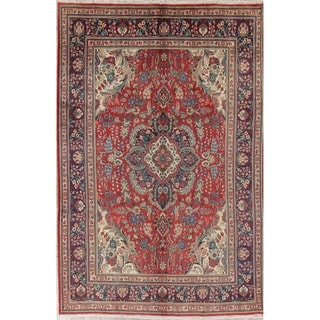 """Tabriz Floral Medallion Traditional Hand-Knotted Wool Persian Area Rug - 9'7"""" x 6'5"""""""