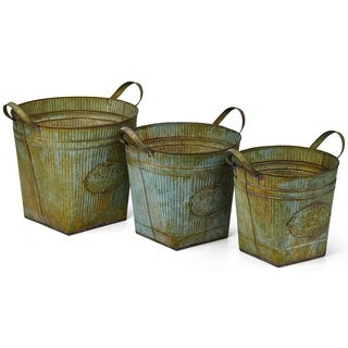 Werner Galvanized Planters with Rusted Finish - Set of 3