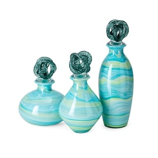 Exuma Art Glass Bottles with Knot Stopper - Set of 3
