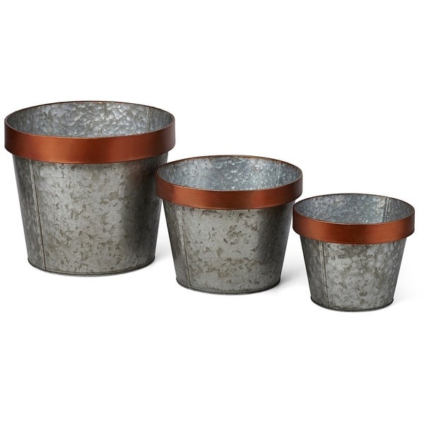 Anisley Galvanized Planters - Set of 3